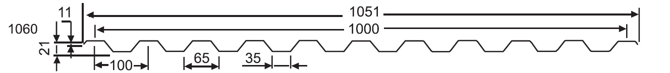 Размеры технические характеристики профнастил оцинкованный кс21 цена Краснодар, листы профнастила оцинкованного кс21 цена Сочи, купить профнастил КС-21 оцинкованный